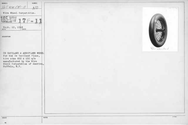 Airplanes - Wheels - De Haviland 4 aeroplane wheel for the De Haviland Plane, tire size 600 x 150m/m manufactured by the Wire Wheel Corporation of America, Buffalo, N.Y