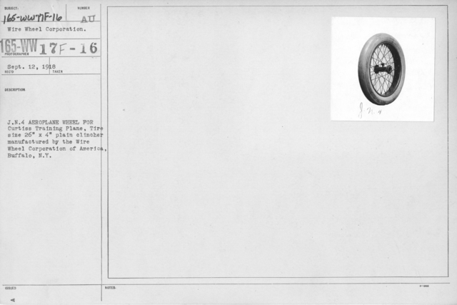 """Airplanes - Wheels - J.N.4 Aeroplane wheel for Curtiss Training Plane, Tire size 26"""" x 4"""" plain clincher manufactured by the Wire Wheel Corporation of America, Buffalo, N.Y"""