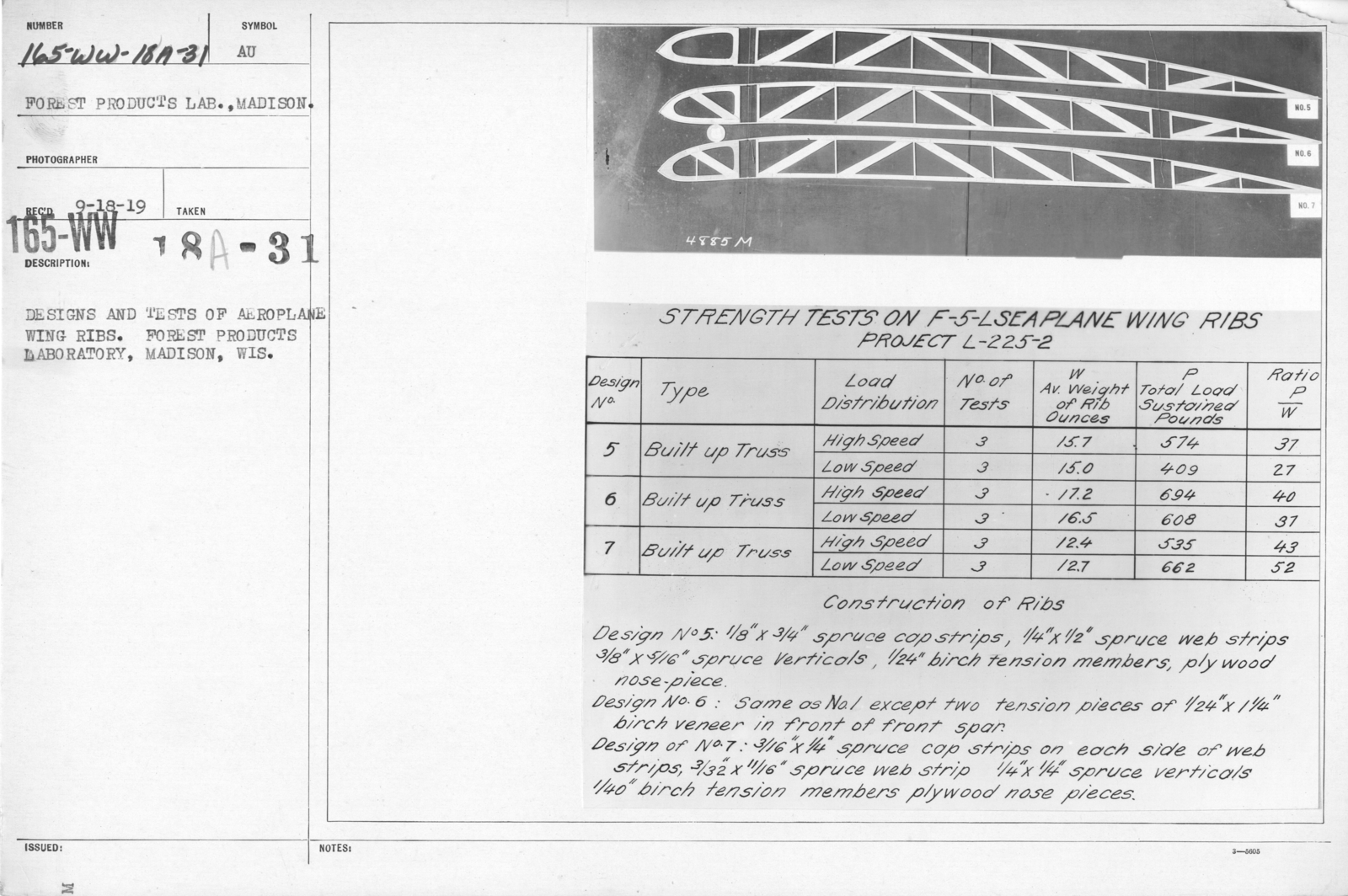 Airplanes - Wings - Designs and tests of airplane ribs. Strength tests on 15-foot airplane wing ribs, Forest Products Laboratory, Madison, Wis