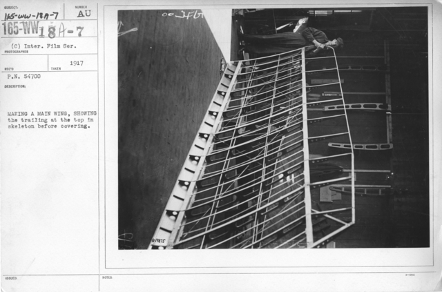 Airplanes - Wings - Making a main wing, showing the trailing at the top in skeleton before covering. Inter. Film Service
