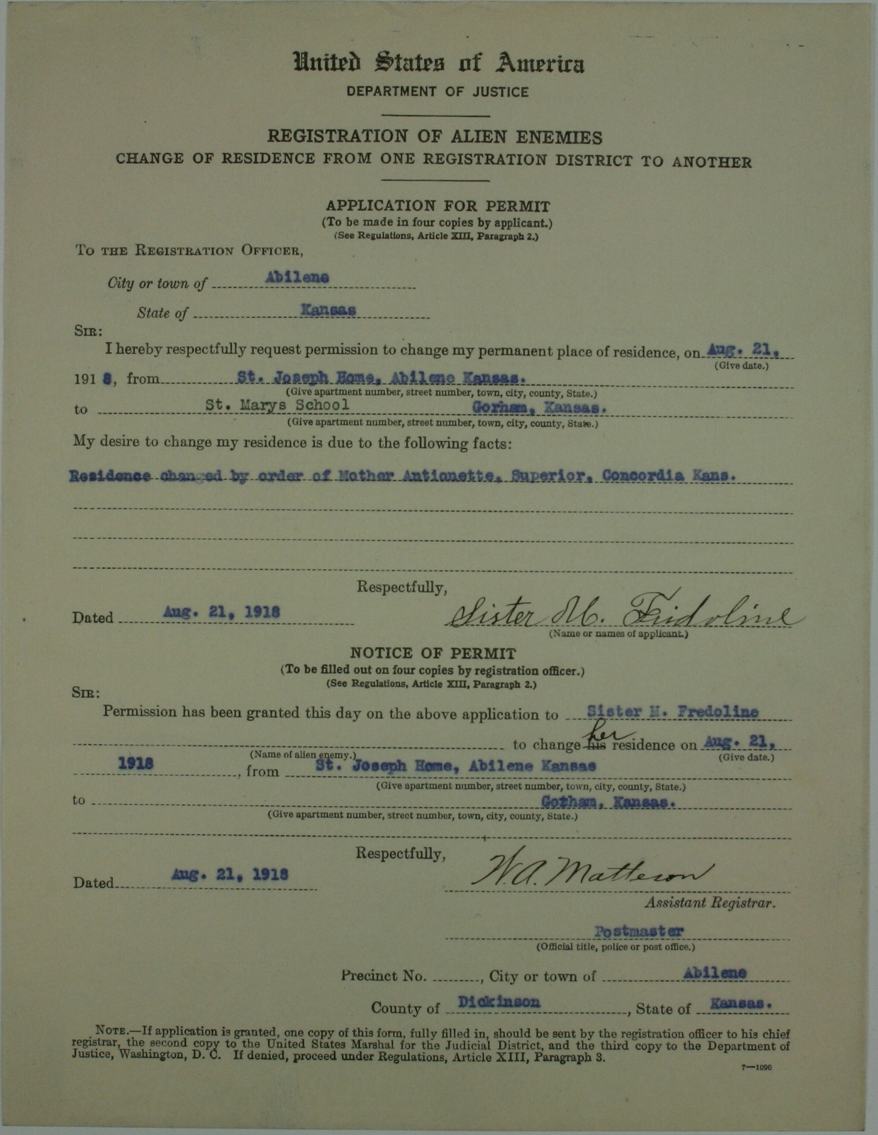 Alien Application Permit for Sister M  Fredoline - U S  National