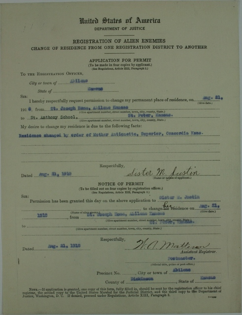 Alien Application Permit for Sister M. Justin