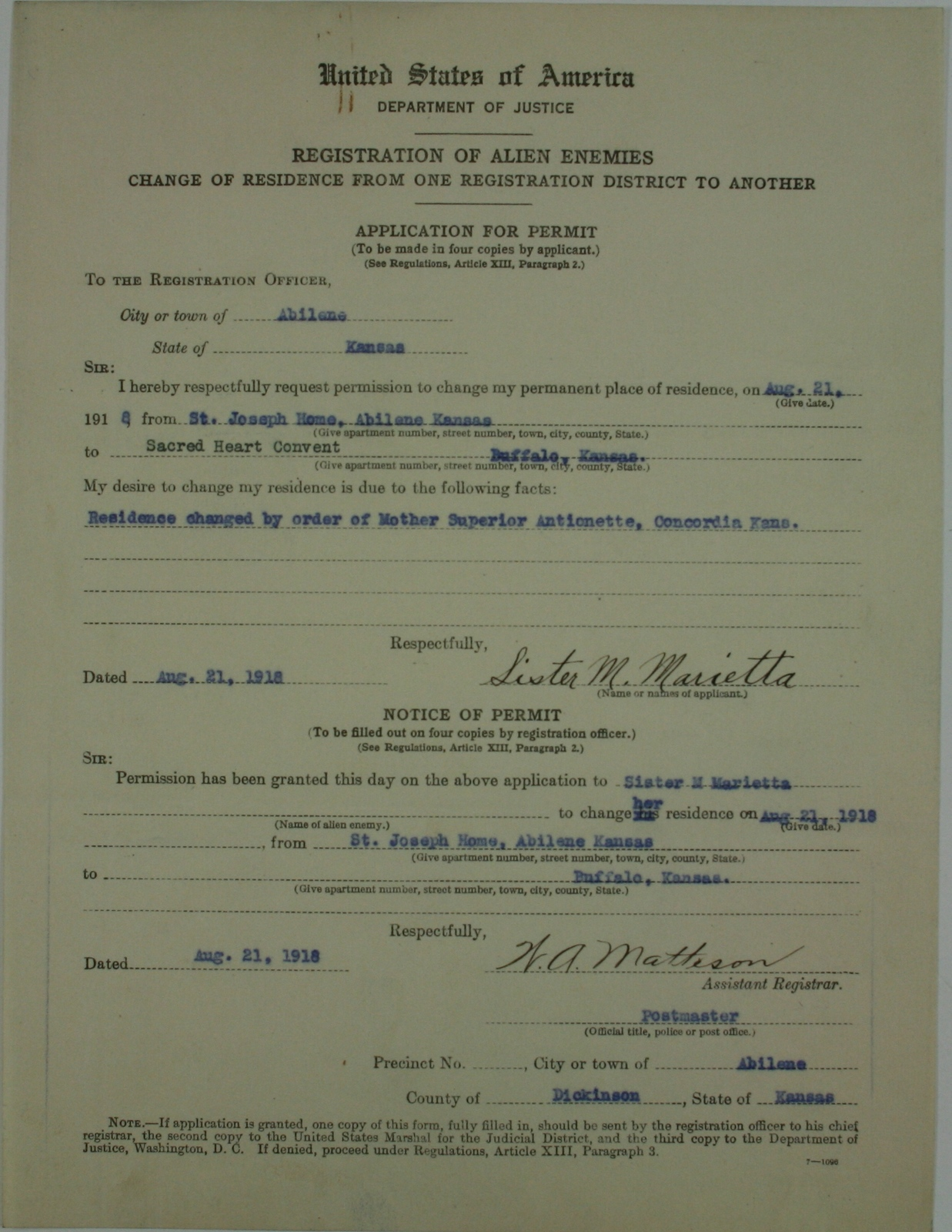 Alien Application Permit for Sister M  Marietta | U S  National Archives