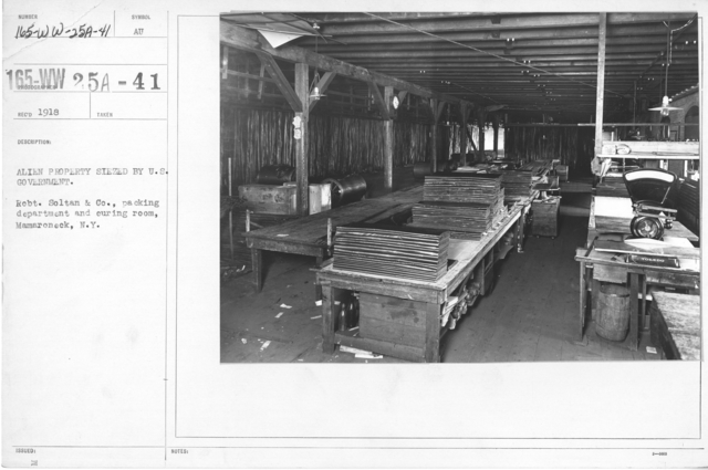 Alien Property Custodian - Property Seized - Alien Property seized by U.S. Government. Robt. Soltan & Co., packing department and curing room, Mamaroneck, N.Y