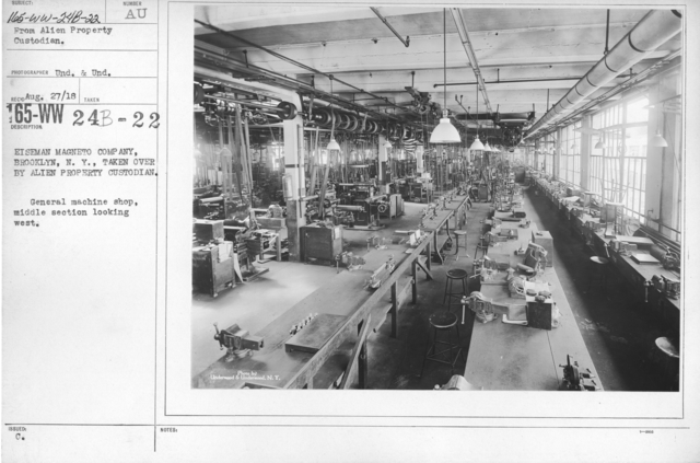 Alien Property Custodian - Property Seized - Eiseman Magneto Company, Brooklyn, N.Y., taken over by Alien Property Custodian. General machine shop, middle section looking west