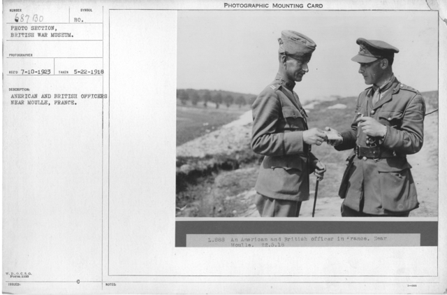 American and British officers near Moulle, France. 5-22-1918