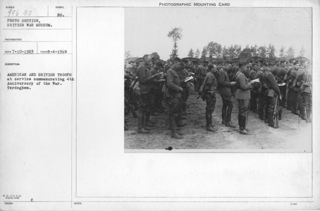 American and British troops at service commemorating 4th Anniversary of the War. Terdeghem