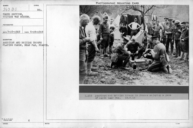 American and British troops playing cards, near Pas, France; 5/18/1918