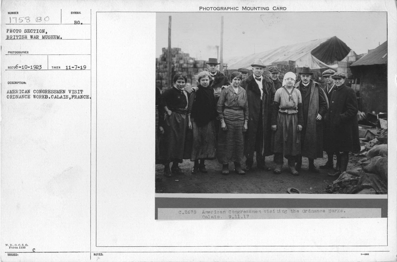 American congressman visit ordnance works. Calais, France
