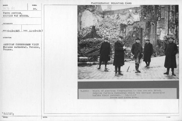 American Congressmen visit Beronne cathedral. Peronne, France