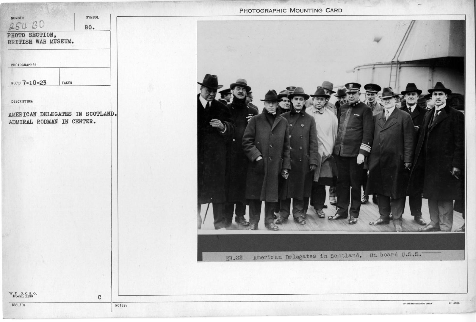 American delegates in Scotland. Admiral Rodman in center