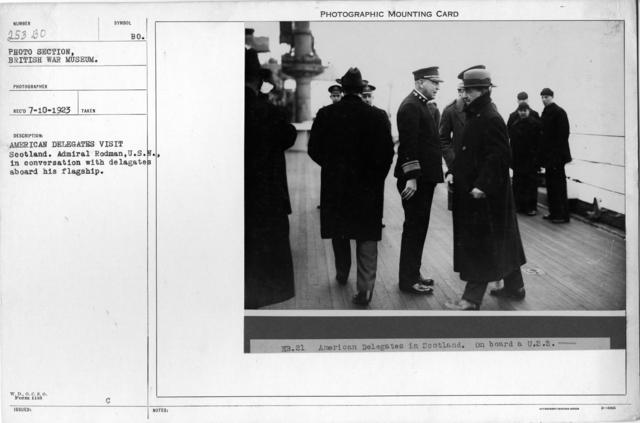 American delegates visit Scotland. Admiral Rodman, U.S.N., in conversation with delegates aboard his flagship