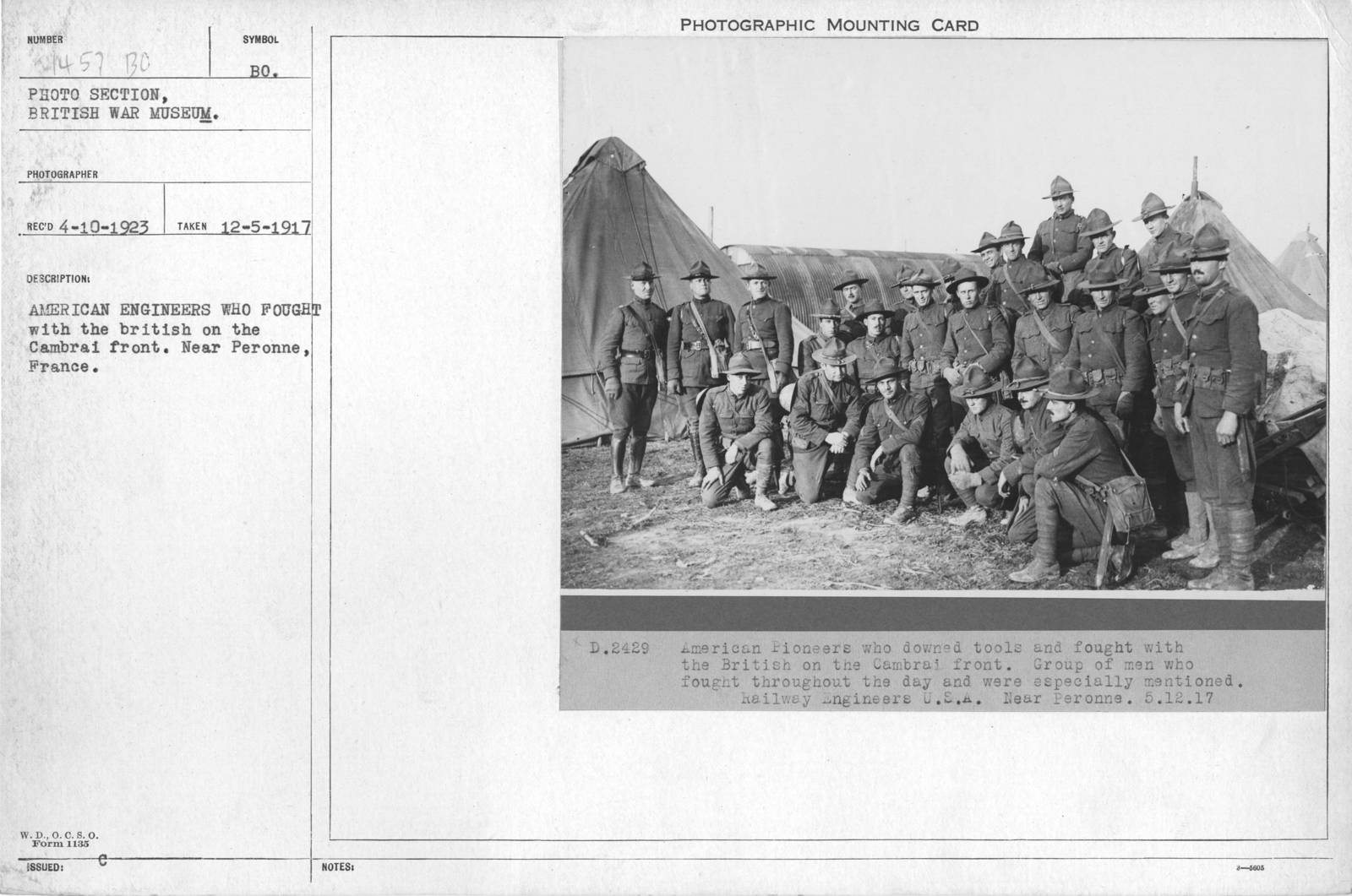 American engineers who fought with the British on the Cambrai front. Near Peronne, France
