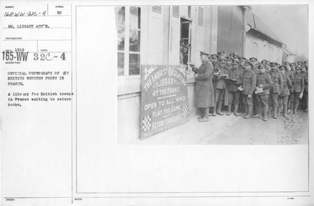 American Library Association - ALA - European - English, German - Official photograph of the British Western Front in France. A library for British troops in France waiting to return books