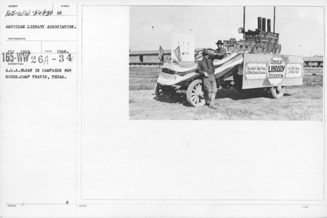 American Library Association - Campaigns - A.L.A. Float in Campain for Books. Camp Travis, Texas
