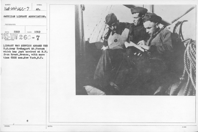 American Library Association - Dispatch - Library War Service aboard the U.S. Army Transport Mt. Vernon which has just arrived at N.Y. from Brest, France, with more than 6000 men. New York, N.Y