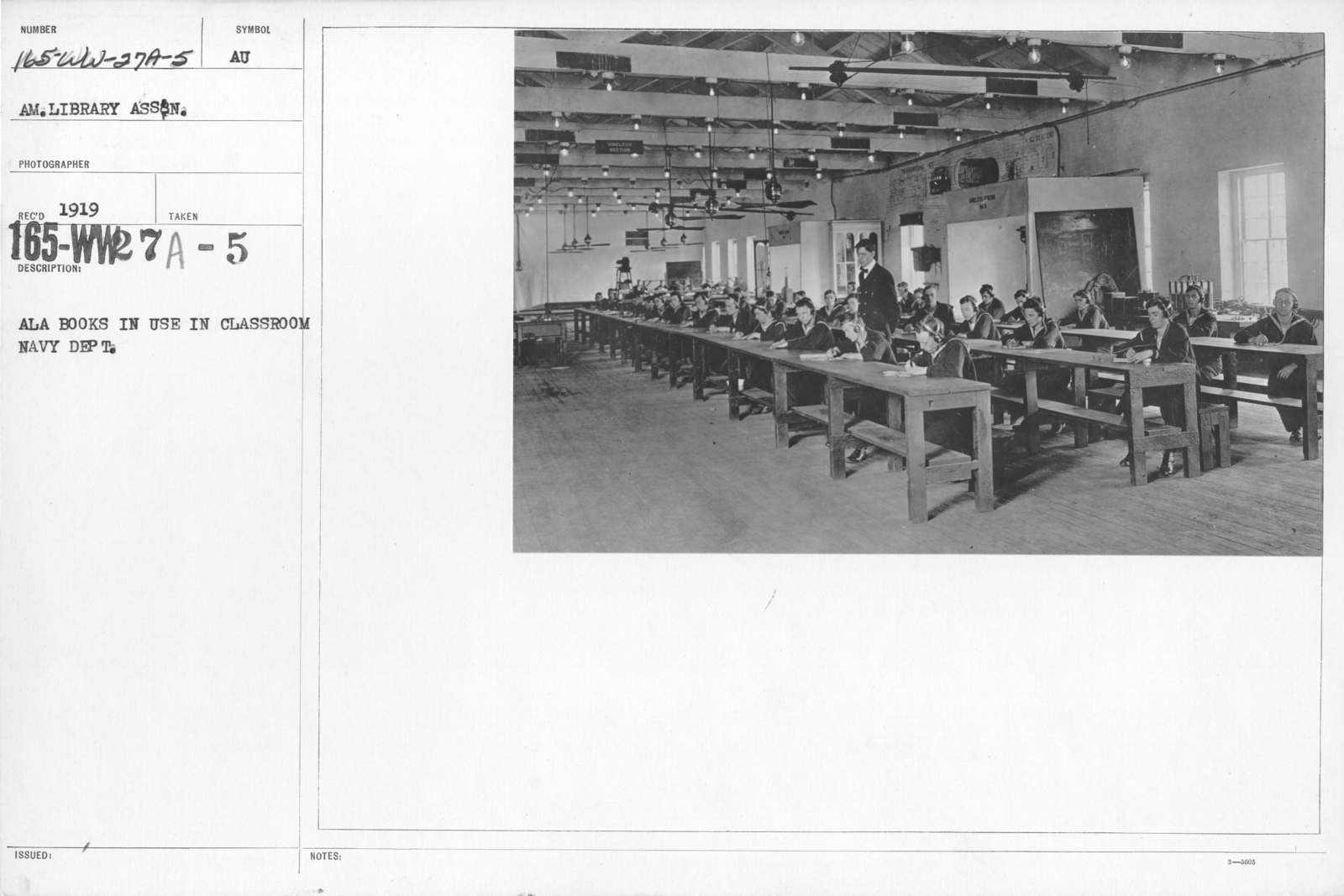 American Library Association Instruction Books - A.L.A. books in use in classroom, Navy Dept