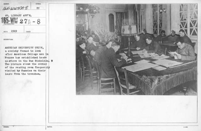 American Library Association Instruction Books - American University Union, a society formed to look after American College men in France has established headquarters in the Rue Richelieu. The picture shows the corner of the reading room frequently visited by Sammies on their leave from the trenches
