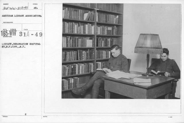 American Library Association - K thru N - Library, Debarkation Hospital #3, N.Y. City, N.Y