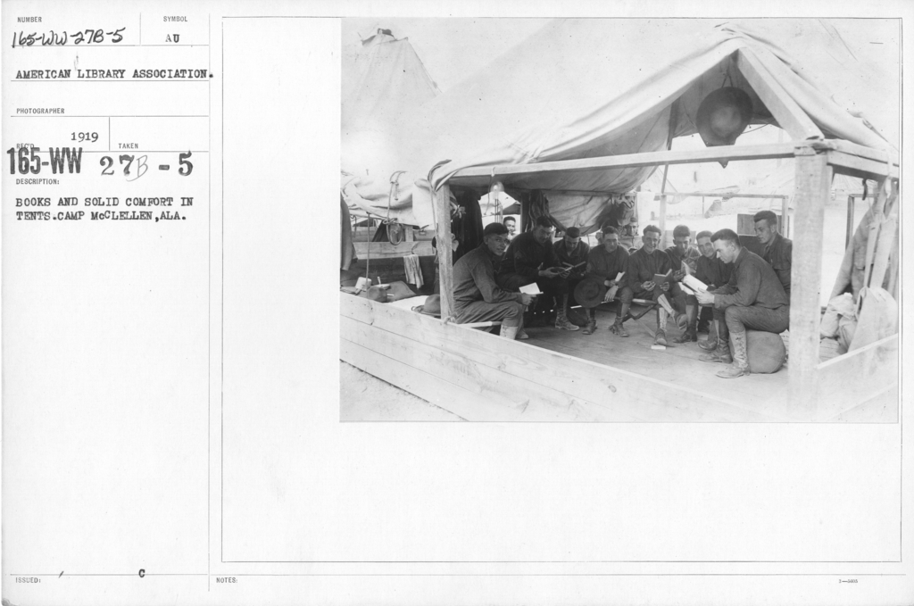 American Library Association - Libraries - Alabama through Iowa - Books and solid comfort in tents. Camp McClellan, ALA