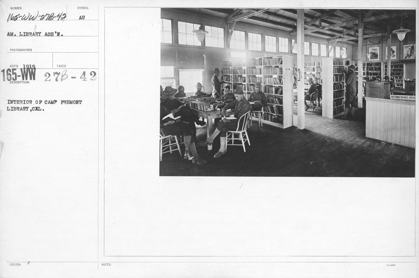 American Library Association - Libraries - Alabama through Iowa - Interior of Camp Fremont Library, Cal
