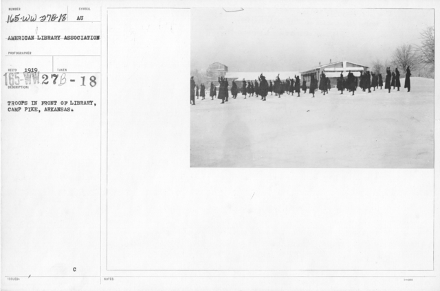 American Library Association - Libraries - Alabama through Iowa - Troops in front of Library, Camp Pike, Arkansas