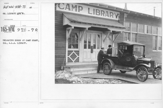 American Library Association - Libraries - Alabama through Iowa - Unloading books at Camp Grant, Ill, A.L.A. Library