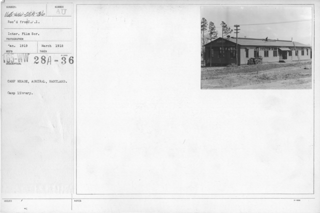 American Library Association - Libraries - Kansas through Mississippi - Camp Meade, Admiral, Maryland. Camp Library. Rec'd from C.P.I. International Film Service
