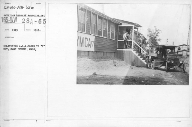 "American Library Association - Libraries - Kansas through Mississippi - Delivering A.L.A. books to ""Y"" hut, Camp Devens, Mass"