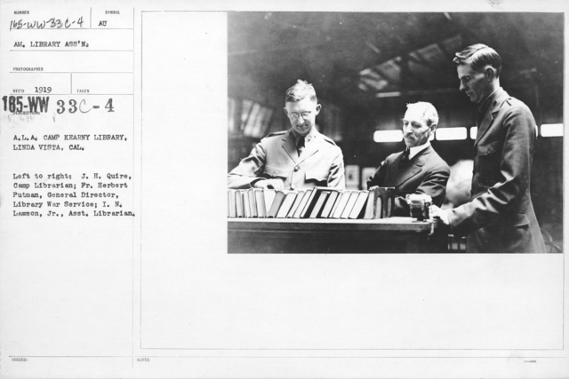 American Library Association - Library Personnel - A.L.A. Camp Kearny Library, Linda Vista, Cal. Left to right: J.J Quire, Camp Librarian; Fr. Herbert Putman, General Director, Library War Service; I.N. Lawson, Jr., Asst. Librarian