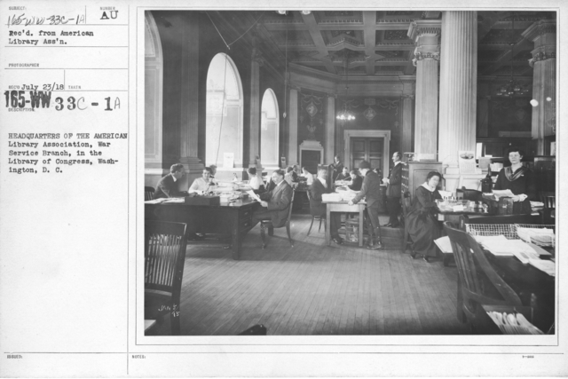 American Library Association - Library Personnel - Headquarters of the American Library Association, War Service Branch, in the Library of Congress, Washington, D.C