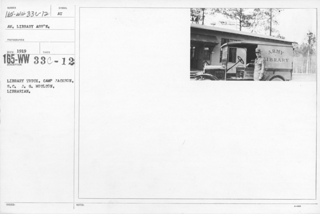 American Library Association - Library Personnel - Library truck, Camp Jackson, S.C.; J.G. Moulton, Librarian