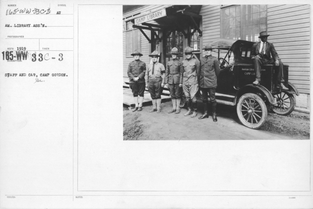 American Library Association - Library Personnel - Staff and Car, Camp Gordon, GA