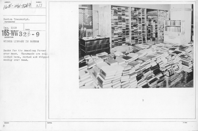American Library Association - Miscellaneous - Widner Library in Boston. Books for the American Forces overseas. Thousands are collected here, sorted and shipped weekly overseas