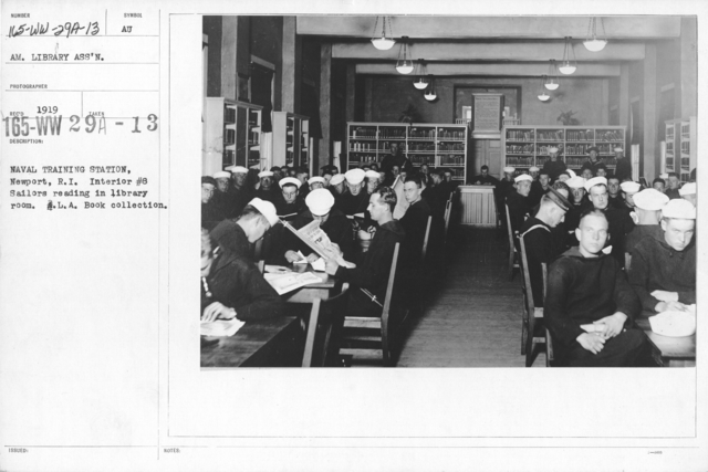 American Library Association - O through R - Naval Training Staiton, Newport, R.I. Interior #8 Sailors reading in library room. L.A. Book Collection