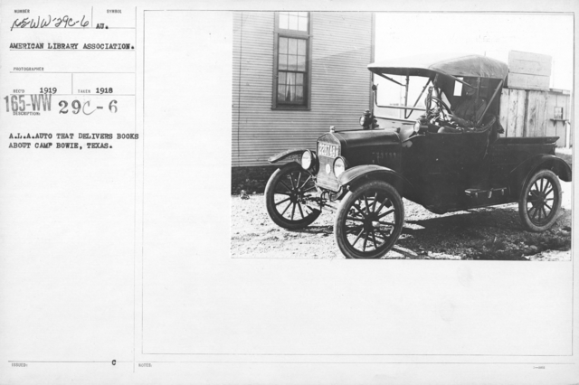 American Library Association - T - A.L.A. Auto that delivers books about Camp Bowie, Texas