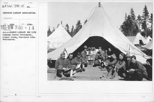 American Library Association - V&W (not in alphabetical order) - A.L.A. Branch Library for 11th Company Casual Detachment, Signal Corps, Vancouver Brks. Washington