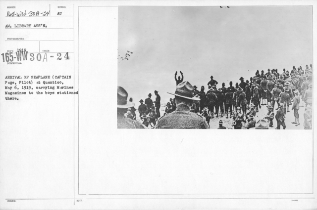 American Library Association - V&W (not in alphabetical order) - Arrival of seaplane (Captain Page, Pilot) at Quantico, May 6, 1919, carrying Marines Magazines to the boys stationed there
