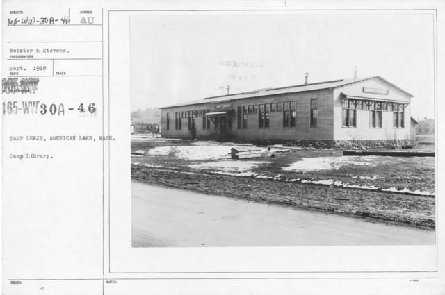 American Library Association - V&W (not in alphabetical order) - Camp Lewis, American Lake, Wash. Camp Library
