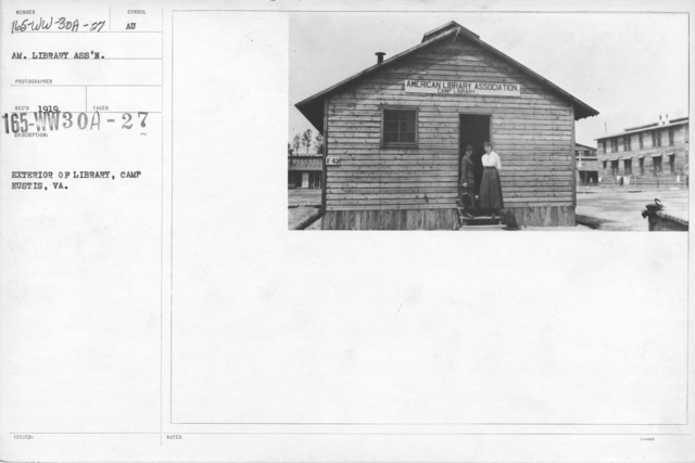 American Library Association - V&W (not in alphabetical order) - Exterior of Library, Camp Eustis, VA