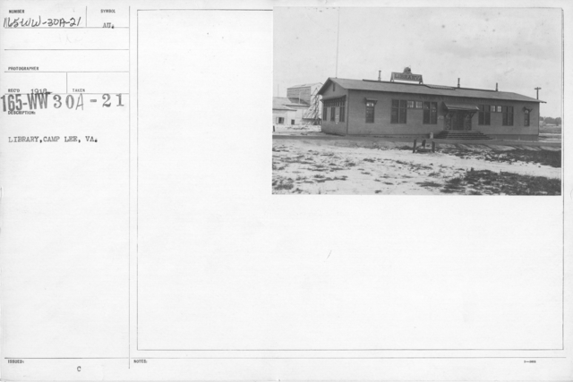 American Library Association - V&W (not in alphabetical order) - Library, Camp Lee, Virginia
