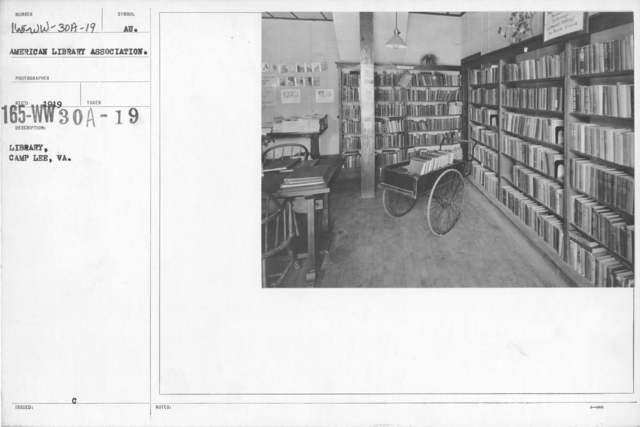American Library Association - V&W (not in alphabetical order) - Library, Camp Lee, VA