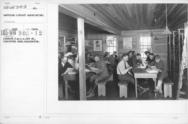 American Library Association - V&W (not in alphabetical order) - Library, Y.M.C.A. Hut #2, Vancouver Brks. Washington