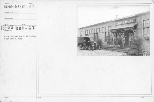 American Library Association - V&W (not in alphabetical order) - Main library front entrance, Camp Lewis, Wash. From C.P.I