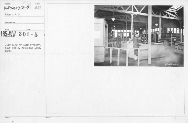 American Library Association - V&W (not in alphabetical order) - Main room of main library, Camp Lewis, American Lake, Wash