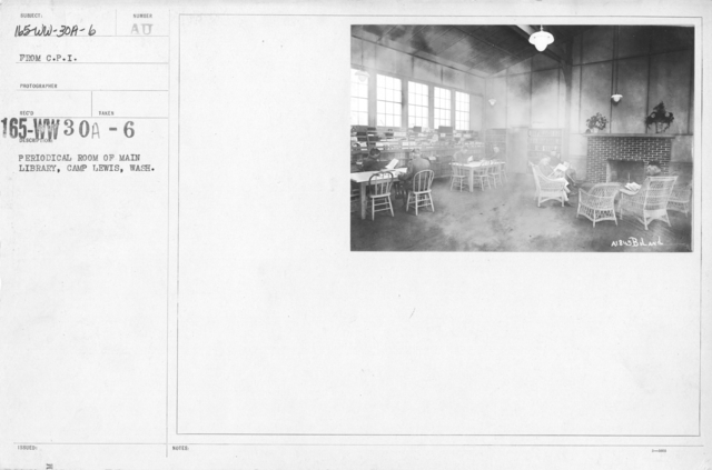 American Library Association - V&W (not in alphabetical order) - Periodical room of main library, Camp Lewis, Wash