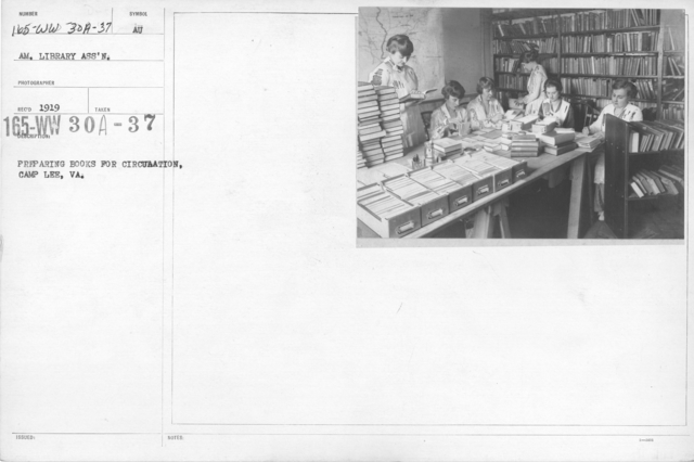 American Library Association - V&W (not in alphabetical order) - Preparing books for circulation; Camp Lee, VA