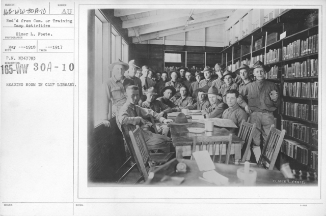 American Library Association - V&W (not in alphabetical order) - Reading room in camp library. Rec'd from Com. Or Training Camp Activities