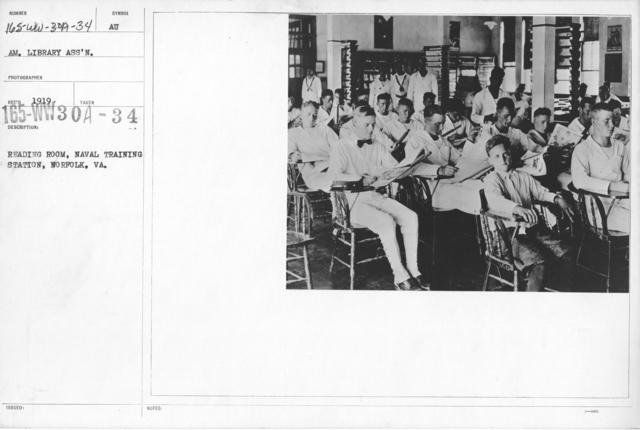 American Library Association - V&W (not in alphabetical order) - Reading room, Naval Training Station, Norfolk, VA