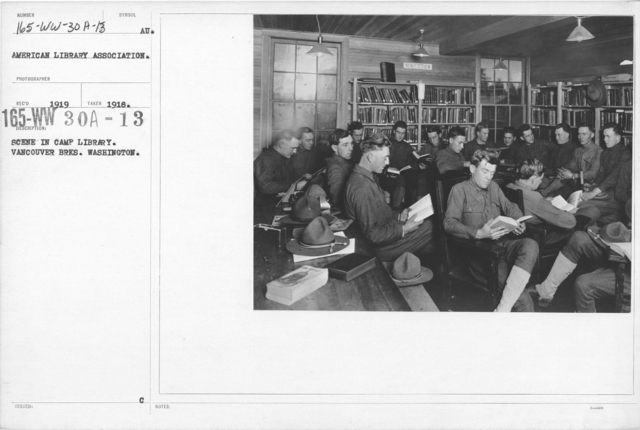 American Library Association - V&W (not in alphabetical order) - Scene in Camp Library. Vancouver Brks. Washington